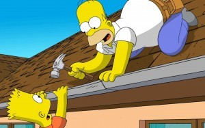 Create meme: Bart hits Homer with a chair, Homer Simpson Wallpaper, the simpsons hit and run card for Lisa