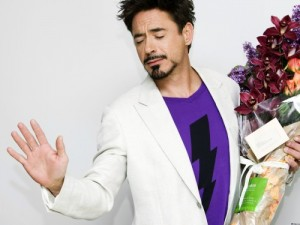 Create meme: Downey Jr with flowers