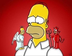 Create meme: Homer angel and demon on his shoulders, Homer Simpson with a gun, Homer Simpson demon