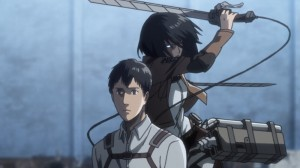 Создать мем: shingeki no kyojin season 3, attack on titan season 3, levi and mikasa