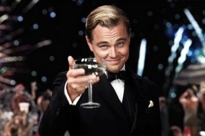 Create meme: DiCaprio with a glass photo, the great Gatsby with a glass of, DiCaprio with a glass of happy birthday