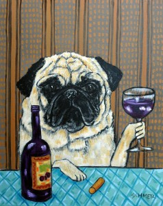 Создать мем: dog art, art dog, wine bar