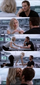 Create meme: kiss on the table, passengers Jennifer Lawrence , who are you to me