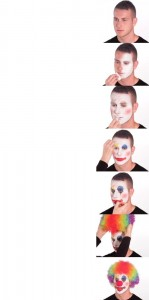 Создать мем: clown makeup мем, clown putting on makeup, clown makeup