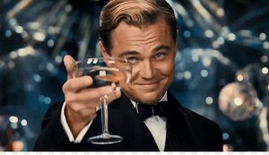 Create meme: Leonardo DiCaprio the great Gatsby photo with a glass, a photo of DiCaprio with a glass, DiCaprio raises a glass