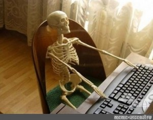 Create meme: Zhdan, when I'm waiting for memes, skeleton at the computer photo