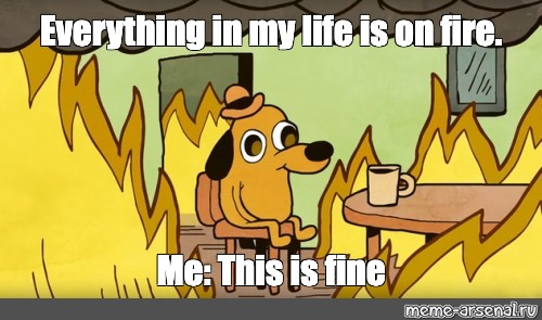 Meme Everything In My Life Is On Fire Me This Is Fine All