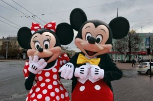 Create meme: Mickey and Minnie mouse in Lugansk July 9, 2012