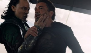 Создать мем: Loki talks to Tony Stark