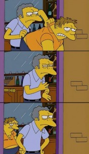 Create meme: mo throws Barney meme, The simpsons , MoE Szyslak