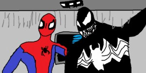 Create meme: Venom and spider-Man in the sewers doing a selfie