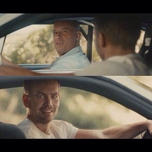 Create meme: meme of fast and furious 7 the end of the movie template, meme of VIN diesel and Paul Walker in the car, Paul Walker and VIN diesel go