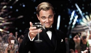 Create meme: DiCaprio champagne, Leonardo DiCaprio the great Gatsby, DiCaprio with a glass photo