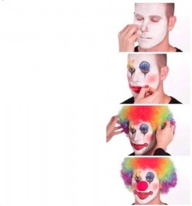 Создать мем: face paint, clown face, clown makeup мем