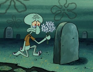 Create meme: squidward's self-portraits, squidward , spongebob grave