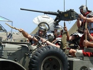 Create meme: the Romans with gun photo, Roman legionaries helicopter, Roman Legionnaires with a gun