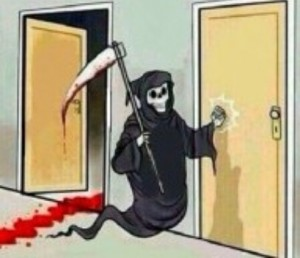 Создать мем: lil bomber meme jojo, мем со смертью, reaper knocks on the door