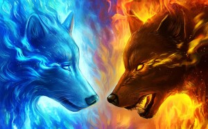 Create meme: wolves are cool, the fire wolf art