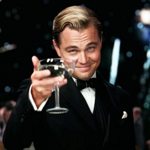 Create meme: let's drink a toast to those, DiCaprio Gatsby, the great Gatsby Leonardo DiCaprio with a glass of