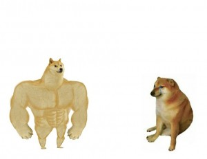Создать мем: swole doge vs chess meme, doge meme, собака