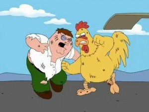 Создать мем: курица в family guy, family guy chicken fight, гриффины драка с петухом