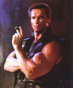 Create meme: arnold schwarzenegger commando , Arnold Schwarzenegger with a cigar , Arnold Schwarzenegger commando pulls out the roof