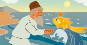 Create meme: The old man and the goldfish