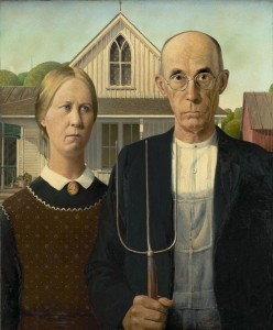Create meme: Russian Gothic, American Gothic the story of, grant wood