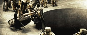 Create meme: 300 Spartans the pit, this is Sparta kick, this is sparta
