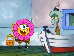 Создать мем: spongebob 3 days gif, stressed spongebob squarepants, funny pictures of spongebob flower