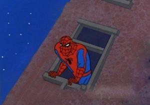 Create meme: Spider-man window
