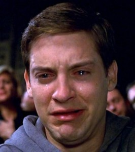 Create meme: crying Tobey Maguire, Tobey Maguire crying photos, Peter Parker meme