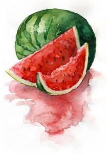 Создать мем: watermelon slice watercolor, watermelon illustration, watermelon pinterest