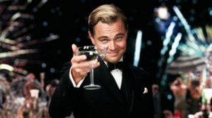 Create meme: DiCaprio Gatsby, the great Gatsby with a glass of, DiCaprio with a glass photo