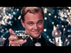 Create meme: DiCaprio with a glass of
