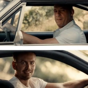 Create meme: Paul Walker fast and furious 7, fast and furious Paul Walker and VIN diesel, VIN diesel fast and furious 7 ending