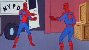 Create meme: spider man meme twin, meme spider-man pointing at spider-man, Spiderman meme double the original