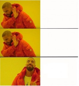 Create meme: meme with a black man in the orange jacket, meme with Drake pattern, drake meme