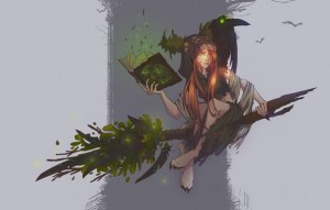 Create meme: the witch on the broom art, witch broom, broom art