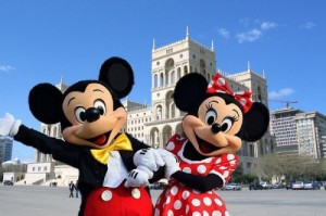 Create meme: Mickey and Minnie mouse in Baku 3 October 2015