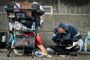 Create meme: homeless with laptop, homeless, the poor in new York