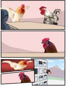 Создать мем: meme chicken game, big chicken book, why did the chicken cross the road why to get to idiots house