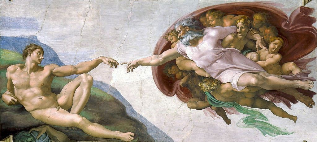 "Создать комикс мем ""the creation of adam, michelangelo buonarroti ..."