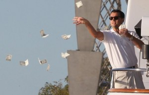 Create meme: Leonardo DiCaprio throws money, the wolf of wall street throwing money, DiCaprio throws money
