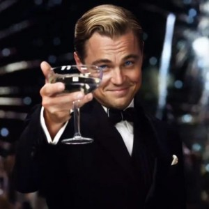 Создать мем: leonardo dicaprio, the great gatsby, бокал за тех