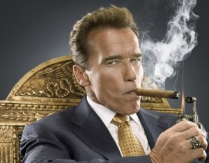 Create meme: Schwarzenegger smokes a cigar, Arnold Schwarzenegger smokes, Arnold Schwarzenegger with a cigar in his mouth