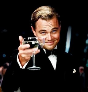 Create meme: DiCaprio with a glass photo, picture a glass to those, Leonardo DiCaprio with a glass of