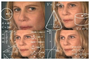 Create meme: confused by math lady, the woman calculates meme, a woman with formulas