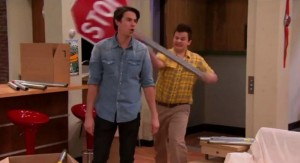 Create meme: ICarly, gibby hit spencer with a stop sign, gibby icarly memes