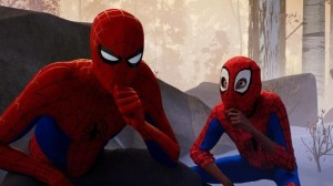 Create meme: spider-man through the universes in a white robe such a fucking, so I spider-man universe so he began to save the city, Spiderman universes through Christmas
